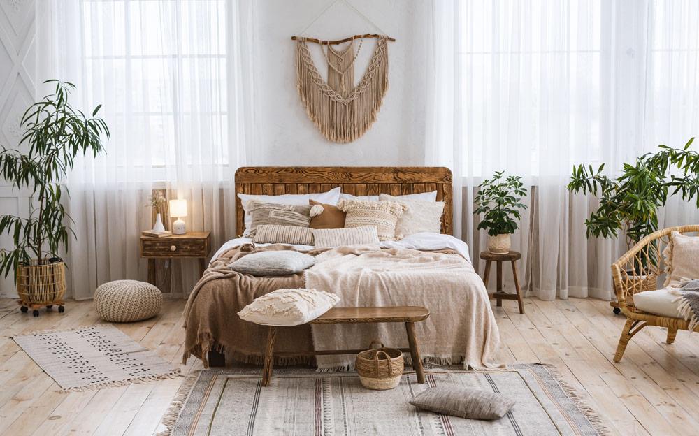 Schlafzimmer gemütlich einrichten mit Pflanzen